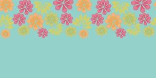 Musterhintergrund des blauen horizontalen mit Blumenkarnevals der Vektorweinlese nahtloser Grenz stock abbildung