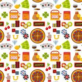 Musterhintergrund-Vektorillustration des Kasinoroulettespielerspassvogelspielautomatpokerspiels nahtlose Stockfotografie