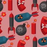 Musterhintergrundillustrationsgranatenangriffsstärke-Balls des Bombendynamitsicherungsvektors brennende Detonation des nahtlosen stock abbildung
