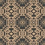 Musterhintergrundpolygongeometriekreuz-Dreieckrahmen des Vektordamastes nahtloser Retro- Eleganter brauner Tonluxusentwurf für stock abbildung