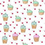 Musterillustration der kleinen Kuchen Nahtloser Druck mit Gebäcksatz Vektorbäckereihintergrund Art des Handabgehobenen betrages Lizenzfreie Stockfotos