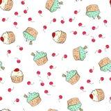 Musterillustration der kleinen Kuchen Nahtloser Druck mit Gebäcksatz Vektorbäckereihintergrund Art des Handabgehobenen betrages Stockfotos