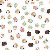 Musterillustration der kleinen Kuchen Nahtloser Druck mit Gebäcksatz Vektorbäckereihintergrund Art des Handabgehobenen betrages Stockbilder