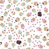 Musterillustration der kleinen Kuchen Nahtloser Druck mit Gebäcksatz Vektorbäckereihintergrund Art des Handabgehobenen betrages Stockfoto