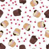 Musterillustration der kleinen Kuchen Nahtloser Druck mit Gebäcksatz Vektorbäckereihintergrund Art des Handabgehobenen betrages Lizenzfreies Stockbild
