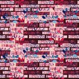 Musterillustrationshintergrund der Wand des roten Backsteins nahtloser mit Blatt lizenzfreies stockfoto