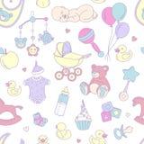 Musterjungenmädchengeburtstags-Feierpartei der neugeborenen Babyparty nahtlose Stockfoto