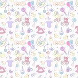 Musterjungenmädchengeburtstags-Feierpartei der neugeborenen Babyparty nahtlose Stockbilder
