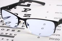 Mustern Sie Gläser mit dem dünnen Rahmen, der an liegt, snellen Diagramm Lizenzfreies Stockfoto