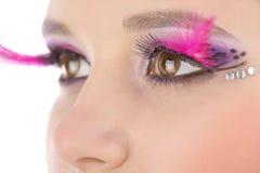 Augennahaufnahme mit hellem Make-up lizenzfreies stockbild
