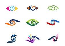 Mustern Sie Visionslogo, Mode, Wimpern, Sammlungsstrudel-Augenlogos, kreisen Sie Optikillustrationssymbol, Bereichturbulenz-Ikone Lizenzfreie Stockbilder