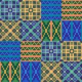 Musterpixelbeschaffenheits-Gelbblau Stockfoto