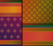 Mustersatz Inder Pattu Sari Vector lizenzfreie stockbilder