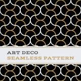 Musterschwarzweiß- und -goldfarben 10 Art Decos nahtlose Stockfotos