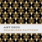 Musterschwarzweiß- und -goldfarben 09 Art Decos nahtlose Lizenzfreie Stockfotografie