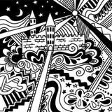 Musterschwarzweiss des magischen Schlosses der Gekritzelskizze nettes lokalisiert Feenhaftes wunderbares Plakat, Fahnenhintergrun vektor abbildung