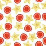Mustersternfrucht und -himbeere des Sommers nahtlose Lizenzfreies Stockbild