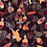 Musterteezeit-Elementsammlung des Weinlesevektors nahtlose mit Kuchen, Schale, Teekanne Lizenzfreies Stockfoto