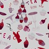 Musterteezeit-Elementsammlung des Weinlesevektors nahtlose mit Kuchen, Schale, Teekanne Lizenzfreies Stockbild