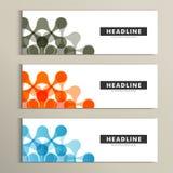 Musterzusammenfassung mit drei Vektoren im Fahnendesign Stockfotografie