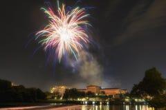 Musuem e fogos-de-artifício da arte de Philadelphfia Fotografia de Stock