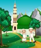 Musulmanes felices delante de la mezquita ilustración del vector