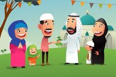 Musulmanes que celebran a Eid Al Fitr libre illustration