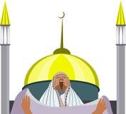 Musulmanes que ruegan contra la perspectiva de una mezquita Imagen de archivo