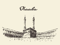 Musulmani santi di Kaaba Mecca Saudi Arabia disegnati Fotografia Stock Libera da Diritti