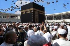 Musulmans et colombes de hadj de Makkah Kaaba volant dans le ciel Photo stock