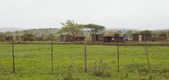 Mut huts in village Africa Royalty Free Stock Images