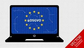Mutação alemão regulamentar da proteção de dados geral: Datenschutz Grundverordnung DSGVO - bocados e esquema de circuito no cade Fotografia de Stock Royalty Free