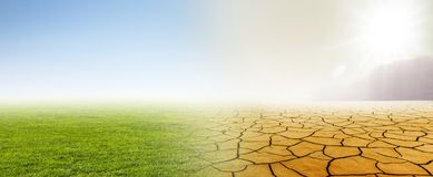 Mutamento climatico dal prato da abbandonare illustrazione vettoriale