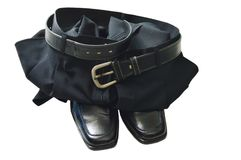 Mutanda di affari e scarpa nere della schiuma su fondo bianco Fotografie Stock Libere da Diritti