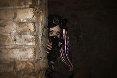 Mutant. Girl in a protective respirator royalty free stock photos