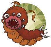 Mutant Caterpillar-Bloedzuiger met heel wat Ogen en Woeste Mond, Vectorillustratie royalty-vrije illustratie