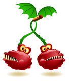 Mutant Cherry Twins. Illustration of genetically modified cherry twins stock illustration