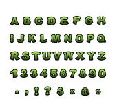Mutant font. Green rough comic alphabet in style. Abstract ABC. Rough letters Stock Image