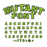 Mutant font. Green rough comic alphabet in style. Abstract ABC. Rough letters Stock Photography