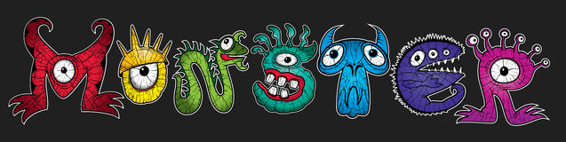Mutant rainbow colors cartoon character monsters  illustrations Royalty Free Stock Photos