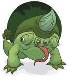 Mutant Tweevoetig Kameleon met een Reuzehoorn, Vectorillustratie stock illustratie
