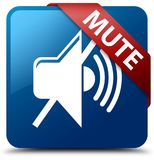 Mute blue square button red ribbon in corner. Mute isolated on blue square button with red ribbon in corner abstract illustration Royalty Free Stock Photography