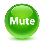 Mute glassy green round button Royalty Free Stock Images
