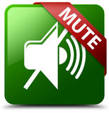 Mute green square button Royalty Free Stock Photos