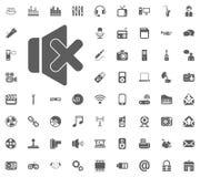 Mute icon. Media, Music and Communication vector illustration icon set. Set of universal icons. Set of 64 icons.  Royalty Free Stock Photo