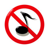 Mute sign. Conceptual road sign with a no sound/music symbol over white background Royalty Free Stock Image