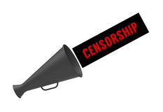 Mute. Simple megaphone with pop-up caption 'Censorship' on white background. Concept for censor of inappropriate content, media blackout and repression of Stock Image