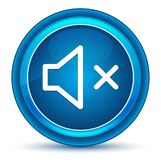 Mute speaker icon eyeball blue round button royalty free illustration