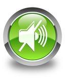 Mute volume icon glossy green round button Stock Photos