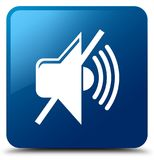 Mute volume icon blue square button Stock Photography